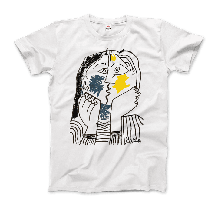 Pablo Picasso The Kiss 1979 Artwork T-Shirt - Men / White / Small by Art-O-Rama