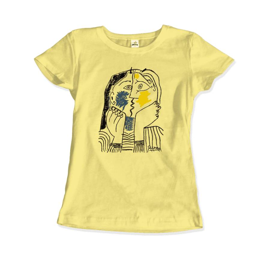 Pablo Picasso The Kiss 1979 Artwork T-Shirt - Women / Spring Yellow / Small by Art-O-Rama