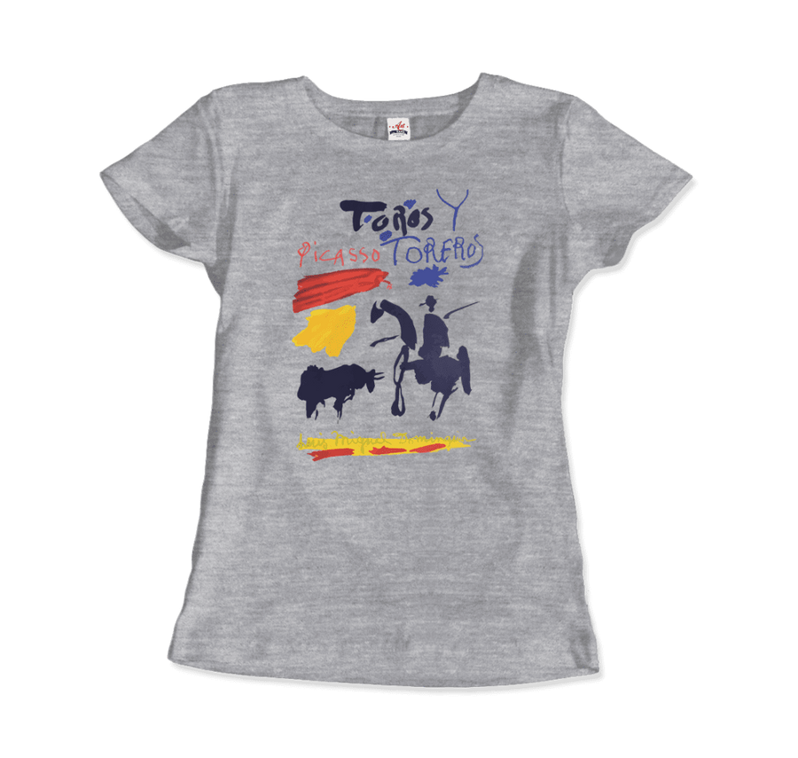 Pablo Picasso Toros y Toreros Book Cover 1961 Artwork T-Shirt - Women / Heather Grey / Small by Art-O-Rama