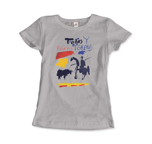 Pablo Picasso Toros y Toreros Book Cover 1961 Artwork T-Shirt - Women / Silver / Small by Art-O-Rama
