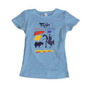 Pablo Picasso Toros y Toreros Book Cover 1961 Artwork T-Shirt - Women / Light Blue / Small by Art-O-Rama
