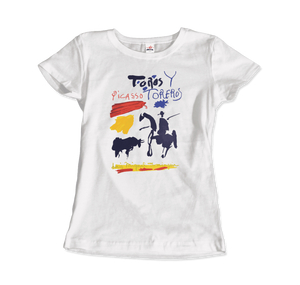 Pablo Picasso Toros y Toreros Book Cover 1961 Artwork T-Shirt - Women / White / Small by Art-O-Rama