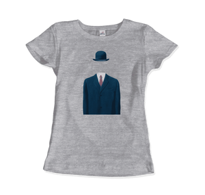 Rene Magritte Man in a Bowler Hat, 1964 Artwork T-Shirt - Women / Heather Grey / Small by Art-O-Rama