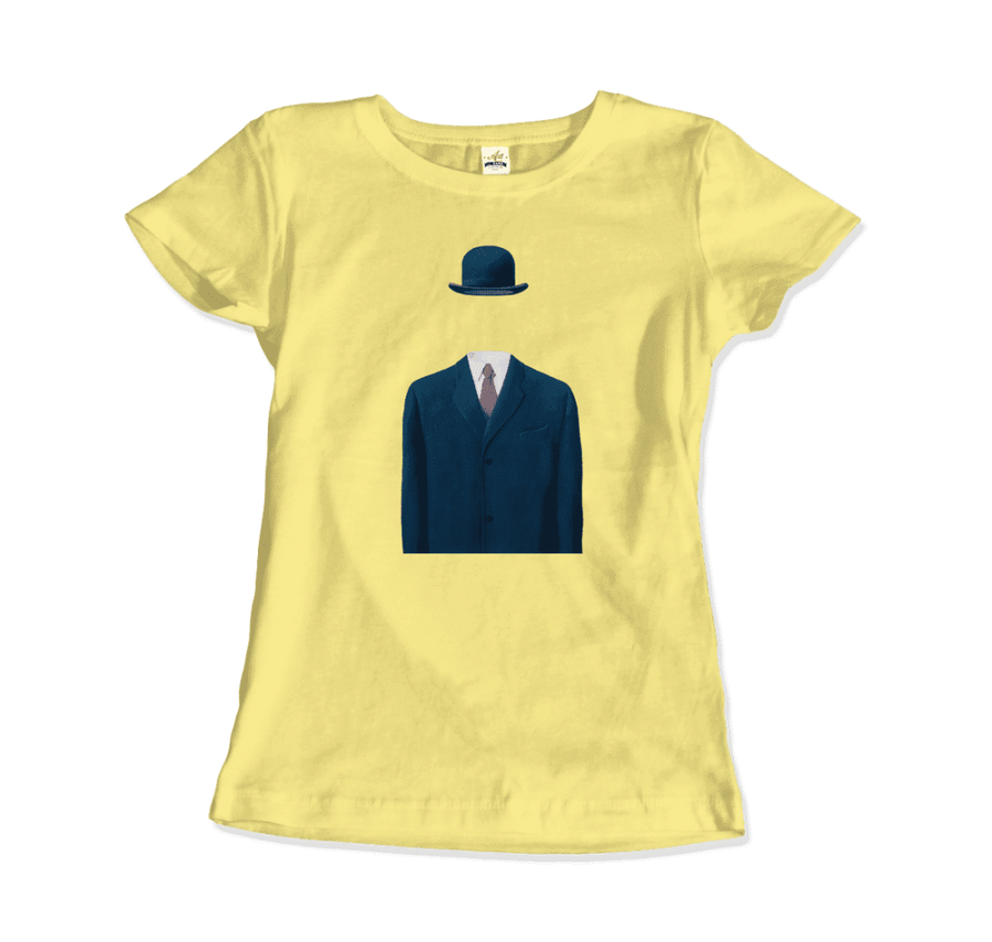 Rene Magritte Man in a Bowler Hat, 1964 Artwork T-Shirt - Women / Spring Yellow / Small by Art-O-Rama