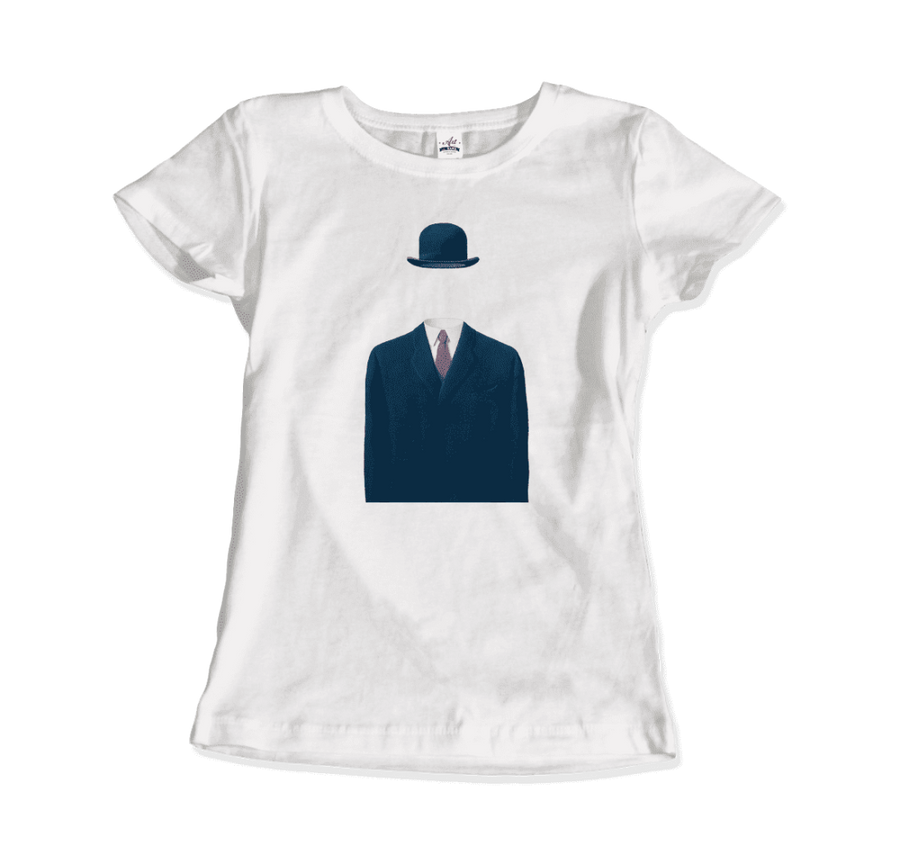 Rene Magritte Man in a Bowler Hat, 1964 Artwork T-Shirt - Women / White / Small by Art-O-Rama