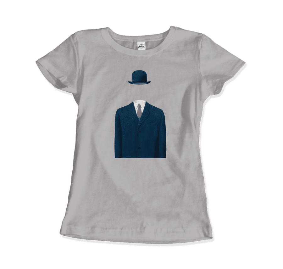 Rene Magritte Man in a Bowler Hat, 1964 Artwork T-Shirt - Women / Silver / Small by Art-O-Rama
