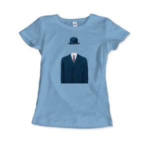 Rene Magritte Man in a Bowler Hat, 1964 Artwork T-Shirt - Women / Light Blue / Small by Art-O-Rama