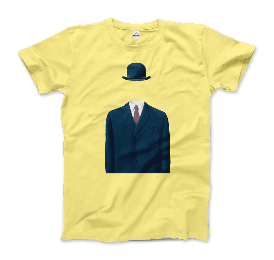 Rene Magritte Man in a Bowler Hat, 1964 Artwork T-Shirt - Men / Spring Yellow / Small by Art-O-Rama