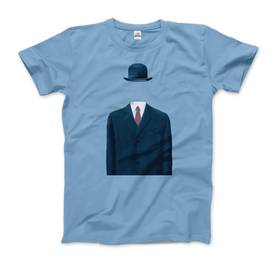 Rene Magritte Man in a Bowler Hat, 1964 Artwork T-Shirt - Men / Light Blue / Small by Art-O-Rama