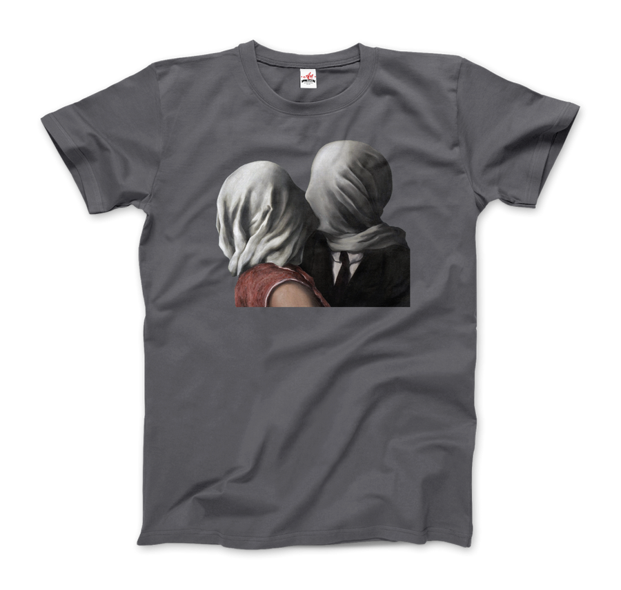 Rene Magritte The Lovers II (1928) Artwork T-Shirt - Men / Charcoal / Small by Art-O-Rama