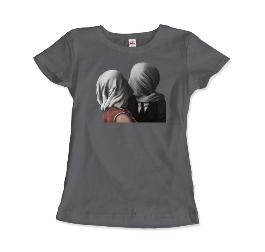 Rene Magritte The Lovers II (1928) Artwork T-Shirt - Women / Charcoal / Small by Art-O-Rama