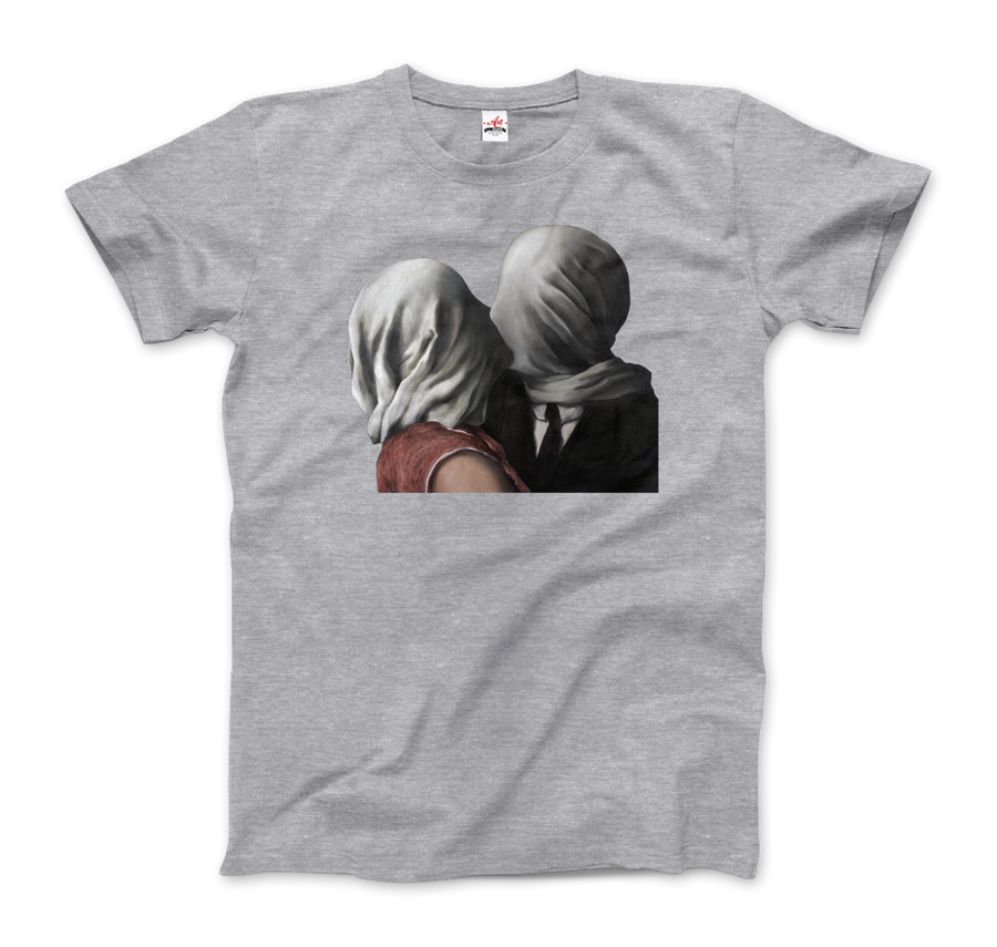 Rene Magritte The Lovers II (1928) Artwork T-Shirt - Men / Heather Grey / Small by Art-O-Rama