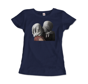 Rene Magritte The Lovers II (1928) Artwork T-Shirt - Women / Navy / Small by Art-O-Rama