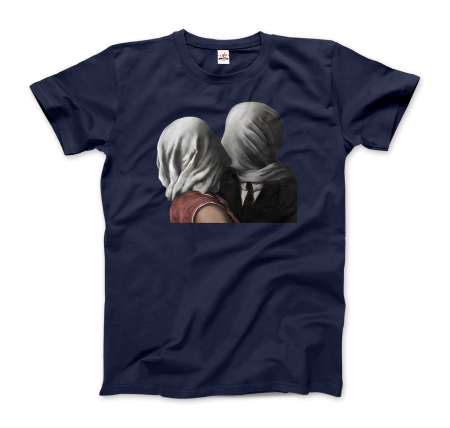 Rene Magritte The Lovers II (1928) Artwork T-Shirt - Men / Navy / Small by Art-O-Rama