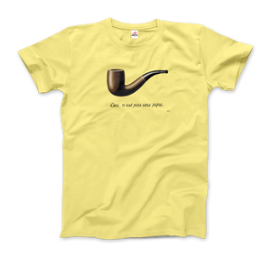 Rene Magritte This Is Not A Pipe, 1929 Artwork T-Shirt - Men / Spring Yellow / Small by Art-O-Rama