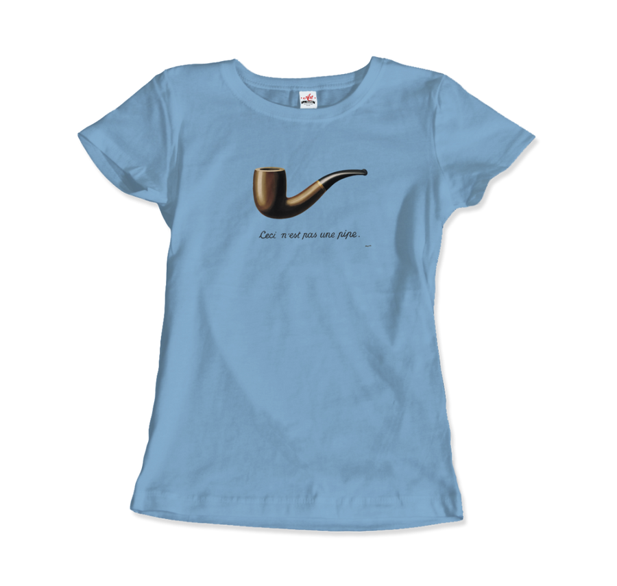 Rene Magritte This Is Not A Pipe, 1929 Artwork T-Shirt - Women / Light Blue / Small by Art-O-Rama