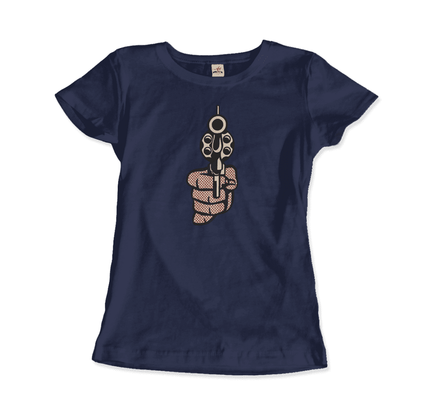 Roy Fox Lichtenstein, Pistol 1964 Artwork T-Shirt - Women / Navy / Small by Art-O-Rama