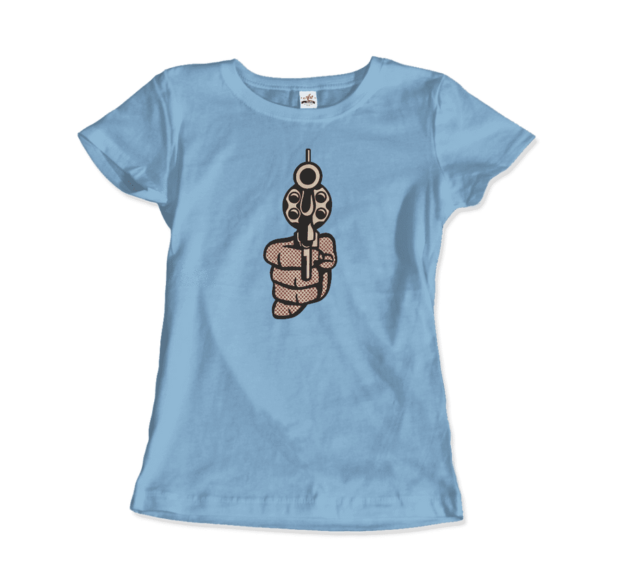Roy Fox Lichtenstein, Pistol 1964 Artwork T-Shirt - Women / Light Blue / Small by Art-O-Rama