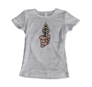 Roy Fox Lichtenstein, Pistol 1964 Artwork T-Shirt - Women / Heather Grey / Small by Art-O-Rama