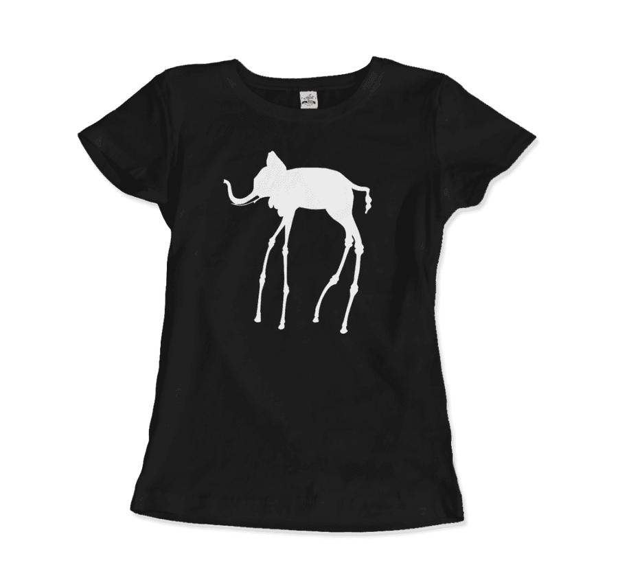 Salvador Dali The Elephants 1948 Artwork T-Shirt - Women / Black / Small by Art-O-Rama
