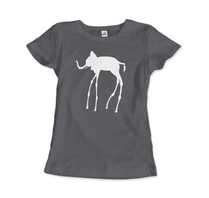 Salvador Dali The Elephants 1948 Artwork T-Shirt - Women / Charcoal / Small by Art-O-Rama