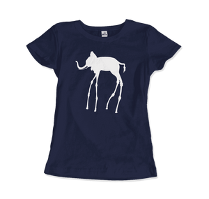 Salvador Dali The Elephants 1948 Artwork T-Shirt - Women / Navy / Small by Art-O-Rama