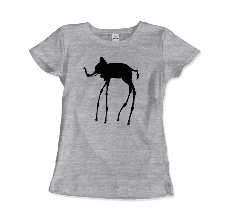 Salvador Dali The Elephants 1948 Artwork T-Shirt - Women / Heather Grey / Small by Art-O-Rama