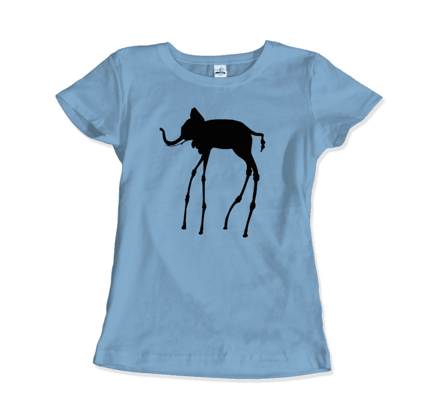 Salvador Dali The Elephants 1948 Artwork T-Shirt - Women / Light Blue / Small by Art-O-Rama