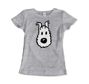 Snowy (Milou), Wire Fox Terrier from Tintin T-Shirt - Women / Heather Grey / Small by Art-O-Rama