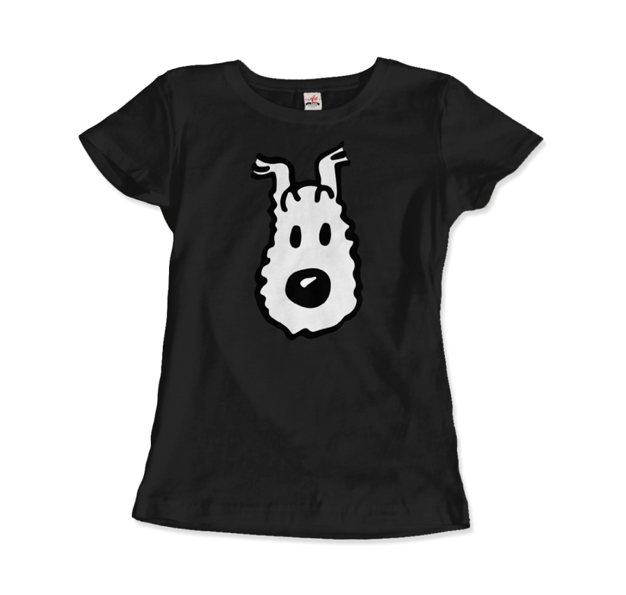 Snowy (Milou), Wire Fox Terrier from Tintin T-Shirt - Women / Black / Small by Art-O-Rama