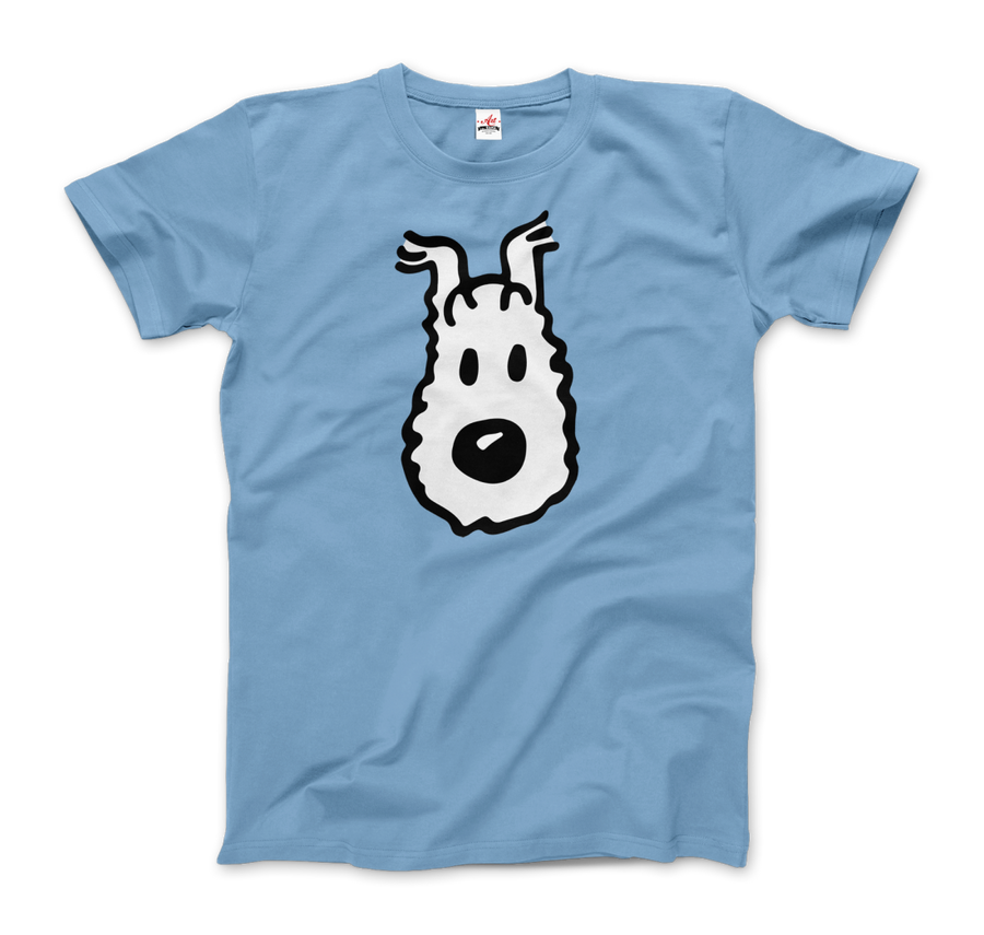 Snowy (Milou), Wire Fox Terrier from Tintin T-Shirt - Men / Light Blue / Small by Art-O-Rama