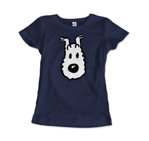 Snowy (Milou), Wire Fox Terrier from Tintin T-Shirt - Women / Navy / Small by Art-O-Rama