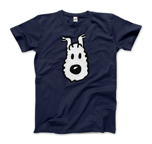Snowy (Milou), Wire Fox Terrier from Tintin T-Shirt - Men / Navy / Small by Art-O-Rama