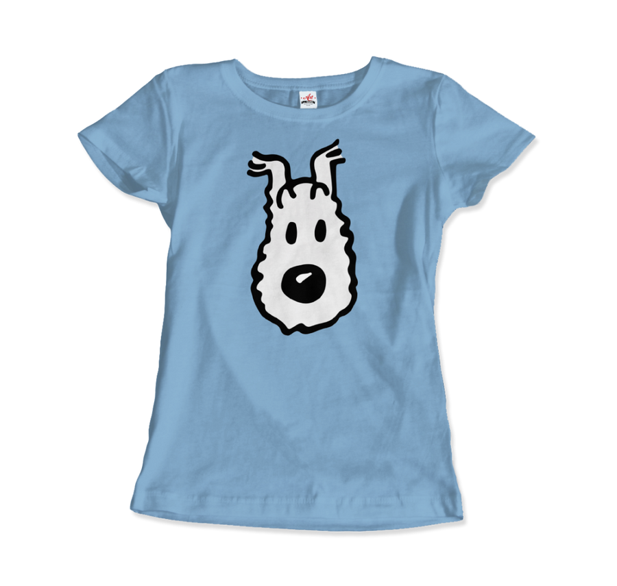 Snowy (Milou), Wire Fox Terrier from Tintin T-Shirt - Women / Light Blue / Small by Art-O-Rama