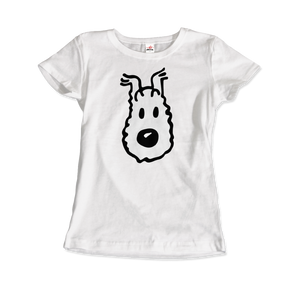 Snowy (Milou), Wire Fox Terrier from Tintin T-Shirt - Women / White / Small by Art-O-Rama