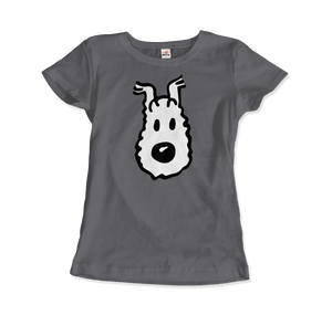 Snowy (Milou), Wire Fox Terrier from Tintin T-Shirt - Women / Charcoal / Small by Art-O-Rama