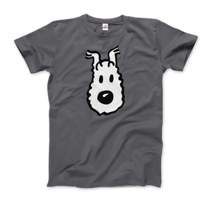 Snowy (Milou), Wire Fox Terrier from Tintin T-Shirt - Men / Charcoal / Small by Art-O-Rama