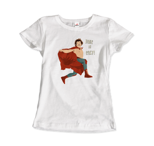 Take It Easy, Nacho Libre, El Luchador Mascarado T-Shirt - Women / White / Small by Art-O-Rama