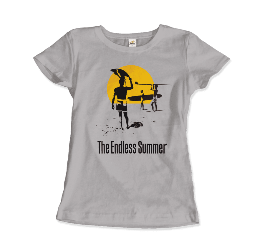 The Endless Summer 1966 Surf Documentary Artwork T-Shirt - Women / Silver / Small by Art-O-Rama