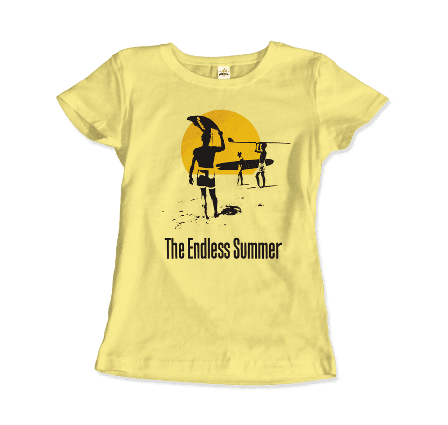 The Endless Summer 1966 Surf Documentary Artwork T-Shirt - Women / Spring Yellow / Small by Art-O-Rama