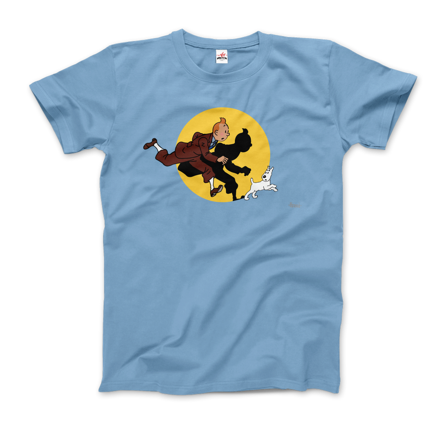 Tintin and Snowy (Milou) Getting Hit By A Spotlight T-Shirt - Men / Light Blue / Small - T-Shirt