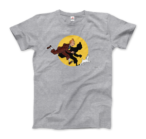 Tintin and Snowy (Milou) Getting Hit By A Spotlight T-Shirt - Men / Heather Grey / Small - T-Shirt