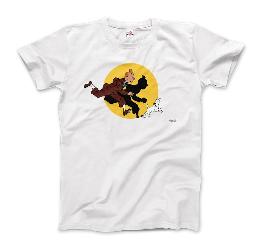 Tintin and Snowy (Milou) Getting Hit By A Spotlight T-Shirt - Men / White / Small - T-Shirt