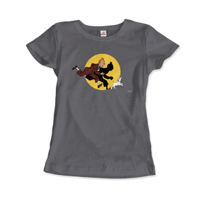 Tintin and Snowy (Milou) Getting Hit By A Spotlight T-Shirt - Women / Charcoal / Small - T-Shirt