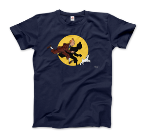 Tintin and Snowy (Milou) Getting Hit By A Spotlight T-Shirt - Men / Navy / Small - T-Shirt