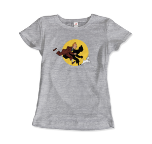 Tintin and Snowy (Milou) Getting Hit By A Spotlight T-Shirt - Women / Heather Grey / Small - T-Shirt