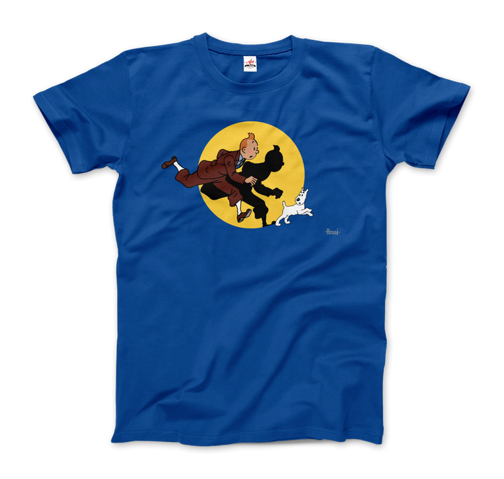 Tintin and Snowy (Milou) Getting Hit By A Spotlight T-Shirt - Men / Royal Blue / Small - T-Shirt