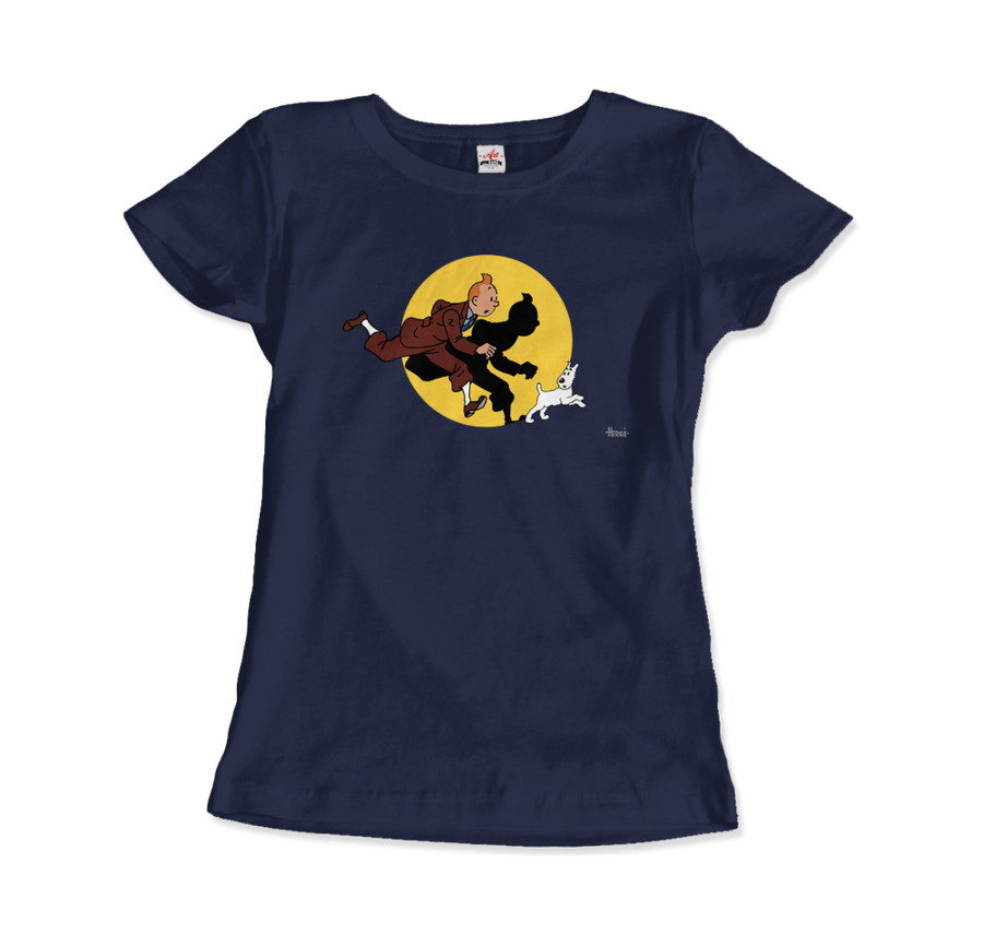 Tintin and Snowy (Milou) Getting Hit By A Spotlight T-Shirt - Women / Navy / Small - T-Shirt
