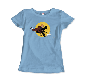Tintin and Snowy (Milou) Getting Hit By A Spotlight T-Shirt - Women / Light Blue / Small - T-Shirt