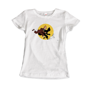 Tintin and Snowy (Milou) Getting Hit By A Spotlight T-Shirt - Women / White / Small - T-Shirt